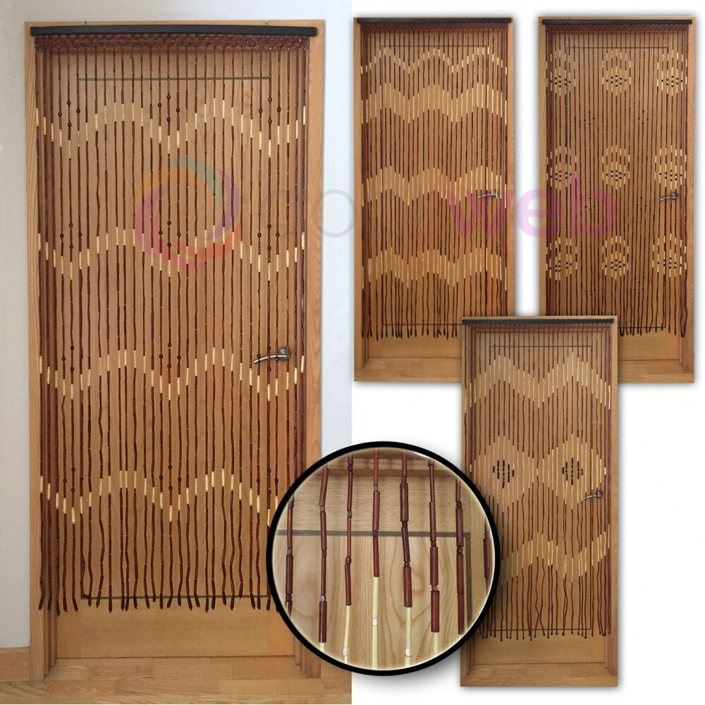 wooden bamboo beaded door curtain fly screen bug mesh. Black Bedroom Furniture Sets. Home Design Ideas