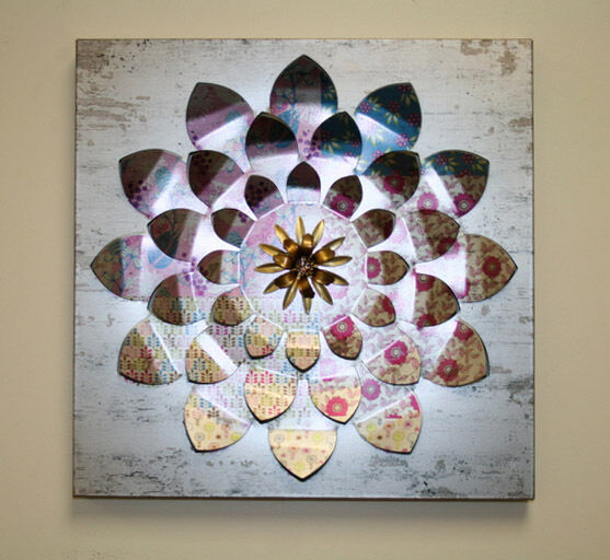 Multi Colored Metal Flower Wall Sculpture For Home