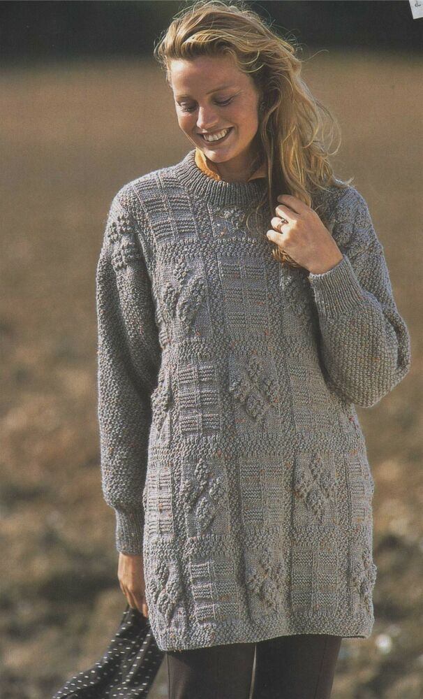 Tunic Sweater Knitting Pattern : Ladies Long Tunic Sweater Knitting Pattern : DK Yarn : Small : Medium : Large...