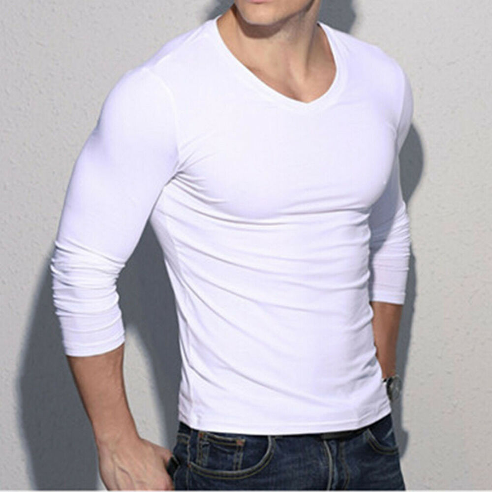 Solid pure white long sleeve v neck cotton fit base shirt for Long sleeve fitted tee shirt