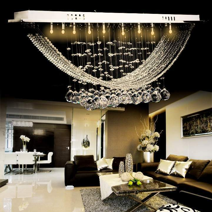 Modern crystal chandelier ceiling lamp pendant light flush for Modern crystal chandelier for dining room