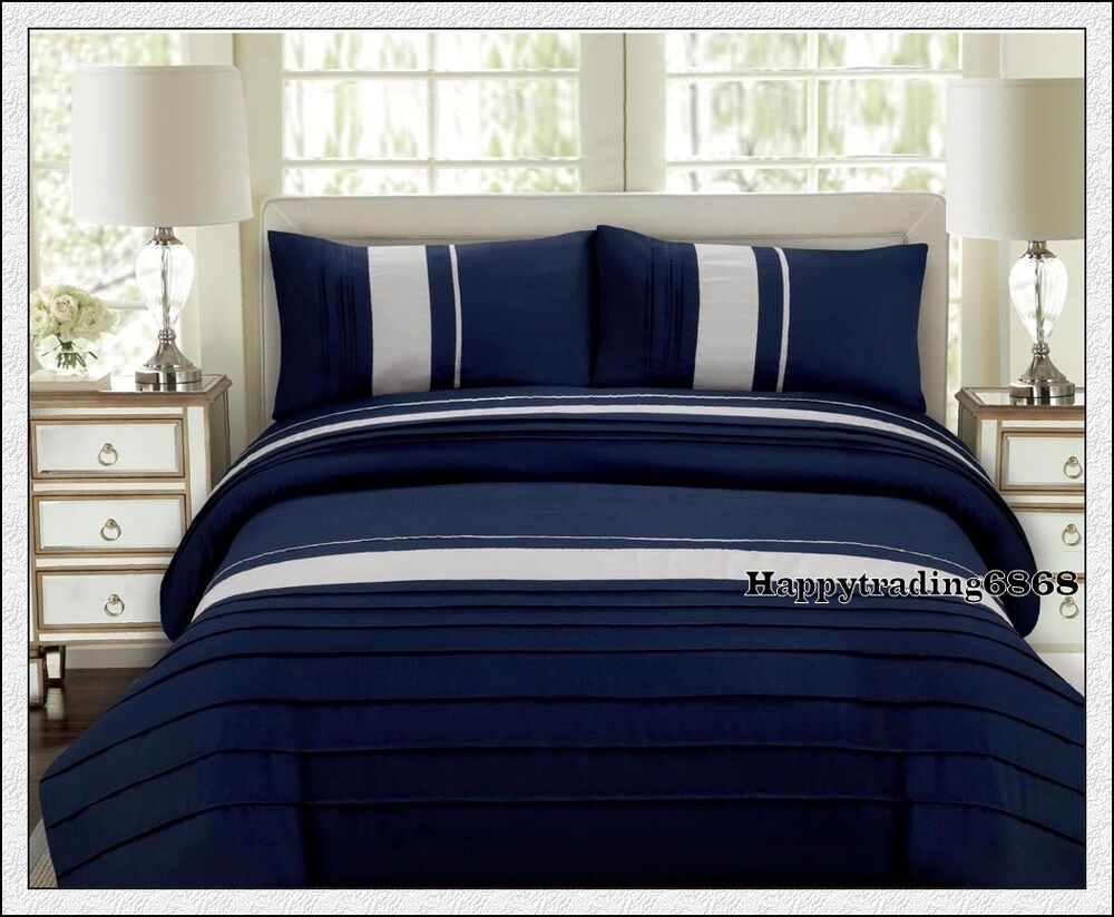 Navy Silver Grey Pintuck King Queen Quilt Doona Duvet