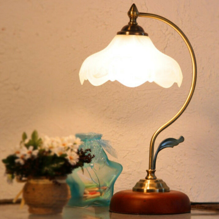 vintage loft retro style table desk lamp light wooden base glass shade art deco ebay. Black Bedroom Furniture Sets. Home Design Ideas