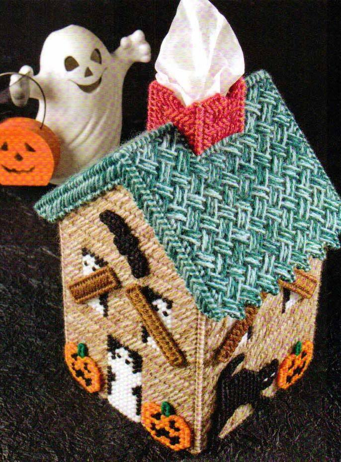 Spooky Cottage Tissue Cover Halloween Plastic Canvas