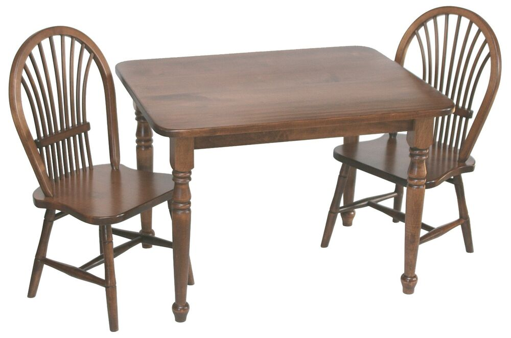 Amish Handcrafted Kids Toddlers Sheaf Table and Chairs 3