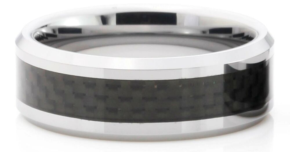 with carbon fiber inlay 8mm band men 39 s wedding ring size 7 14 ebay