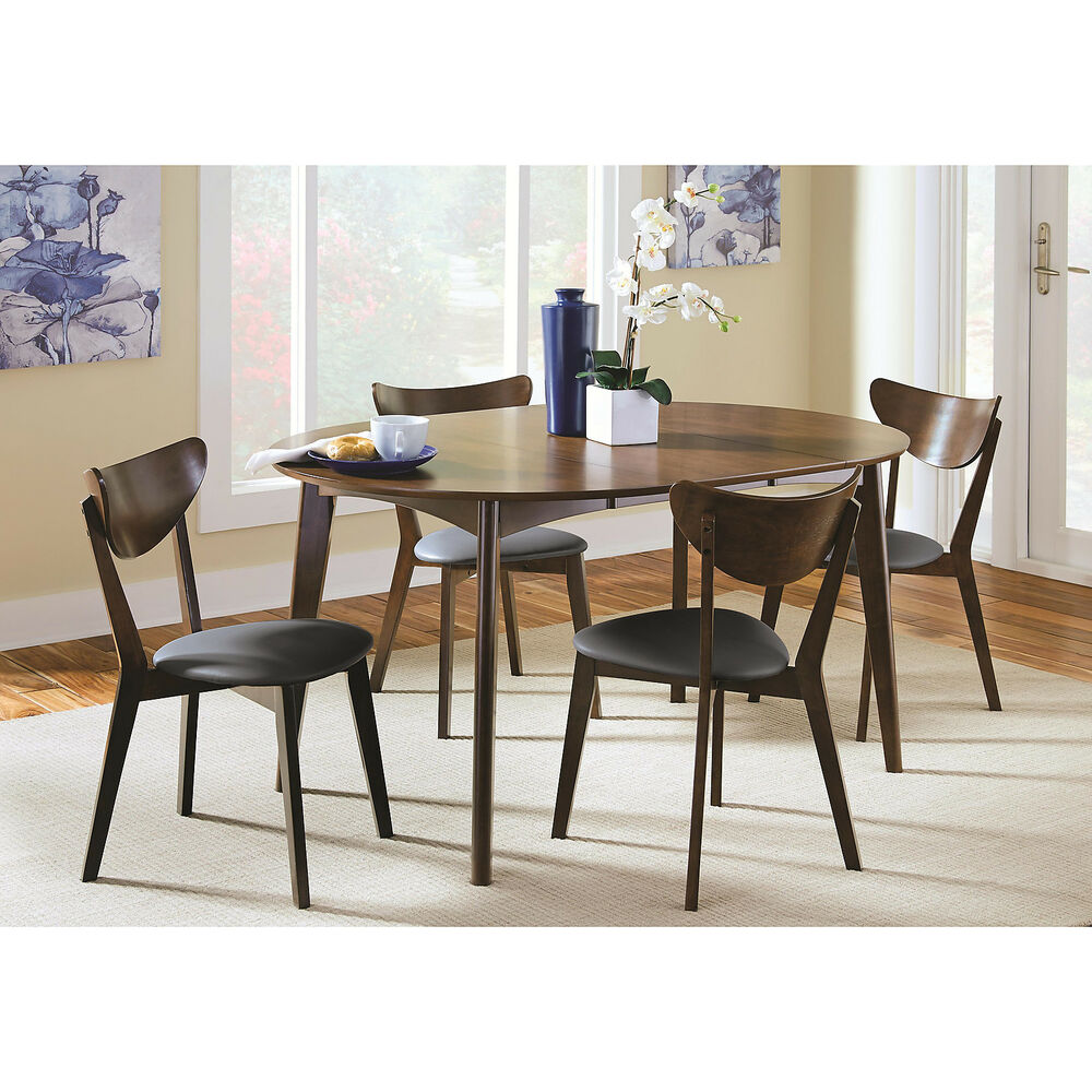 Modern Dark Walnut Wood Oval Dining Table Leaf Set Of 2 Dining Side Chairs