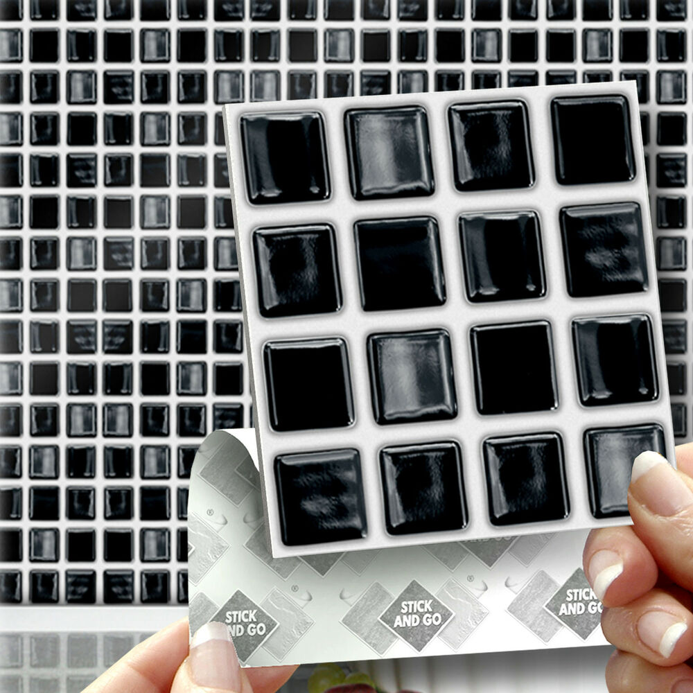 18 stick go black 39mosaic39 stick on wall tiles stickers for Stick on tiles for bathroom