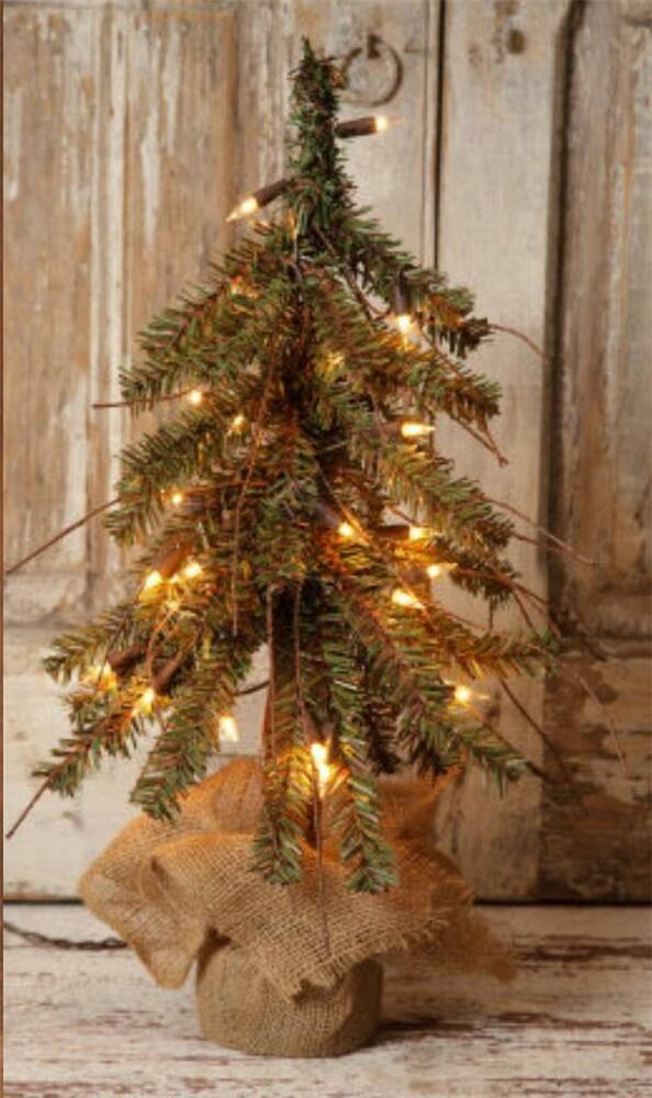 "PRIMITIVE ALPINE 18"" RUSTIC TWIG COUNTRY CHRISTMAS TREE ..."