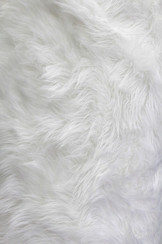 solid shaggy faux fur fabric 60 white long pile mongolian sold by the yard ebay. Black Bedroom Furniture Sets. Home Design Ideas