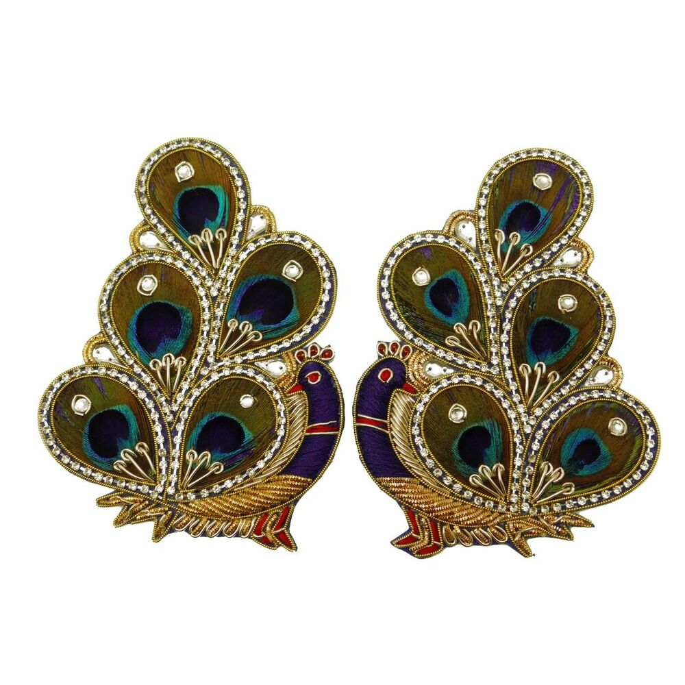 beaded sequins indian peacock appliques supply crafting multicolor for 1 pair ebay. Black Bedroom Furniture Sets. Home Design Ideas