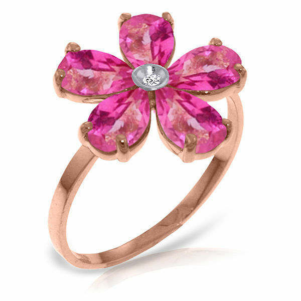 Genuine Pink Topaz Gemstones Amp Diamond Flower Ring 14k