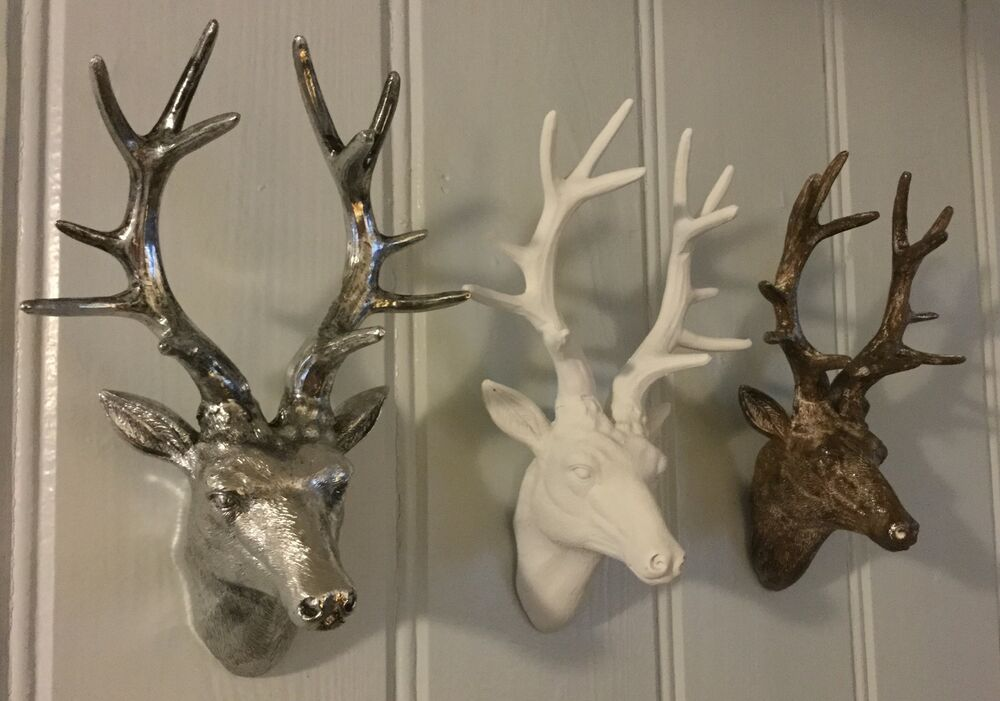 Silver White Bronze Stag Head Antlers Bust Christmas
