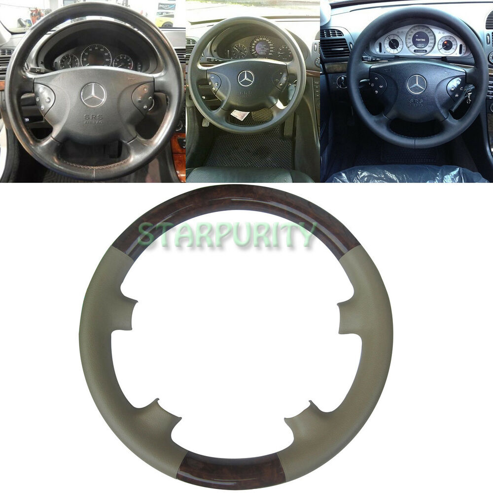tan leather wood steering wheel cover cap for 02 05 mercedes benz w211 e class ebay. Black Bedroom Furniture Sets. Home Design Ideas