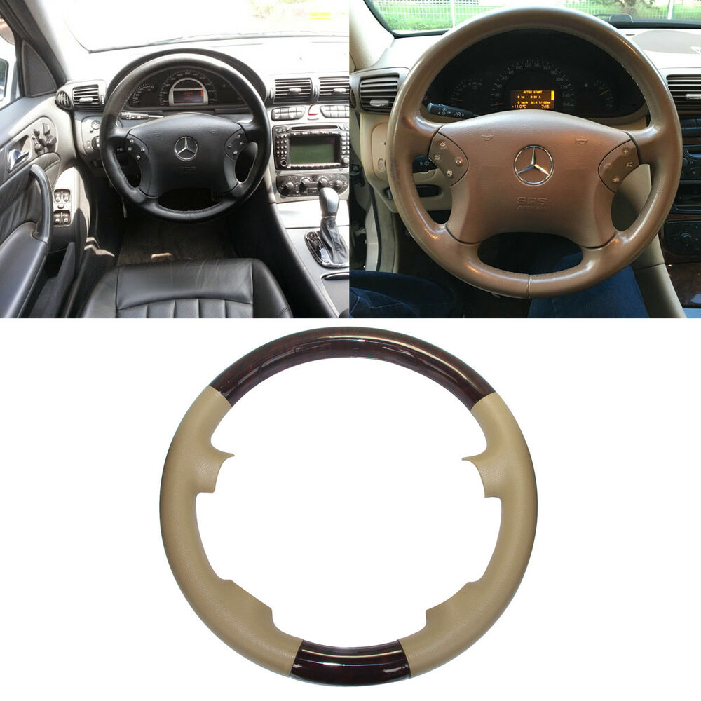 Tan leather wood steering wheel cover cap 00 07 mercedes for Mercedes benz steering wheel cover