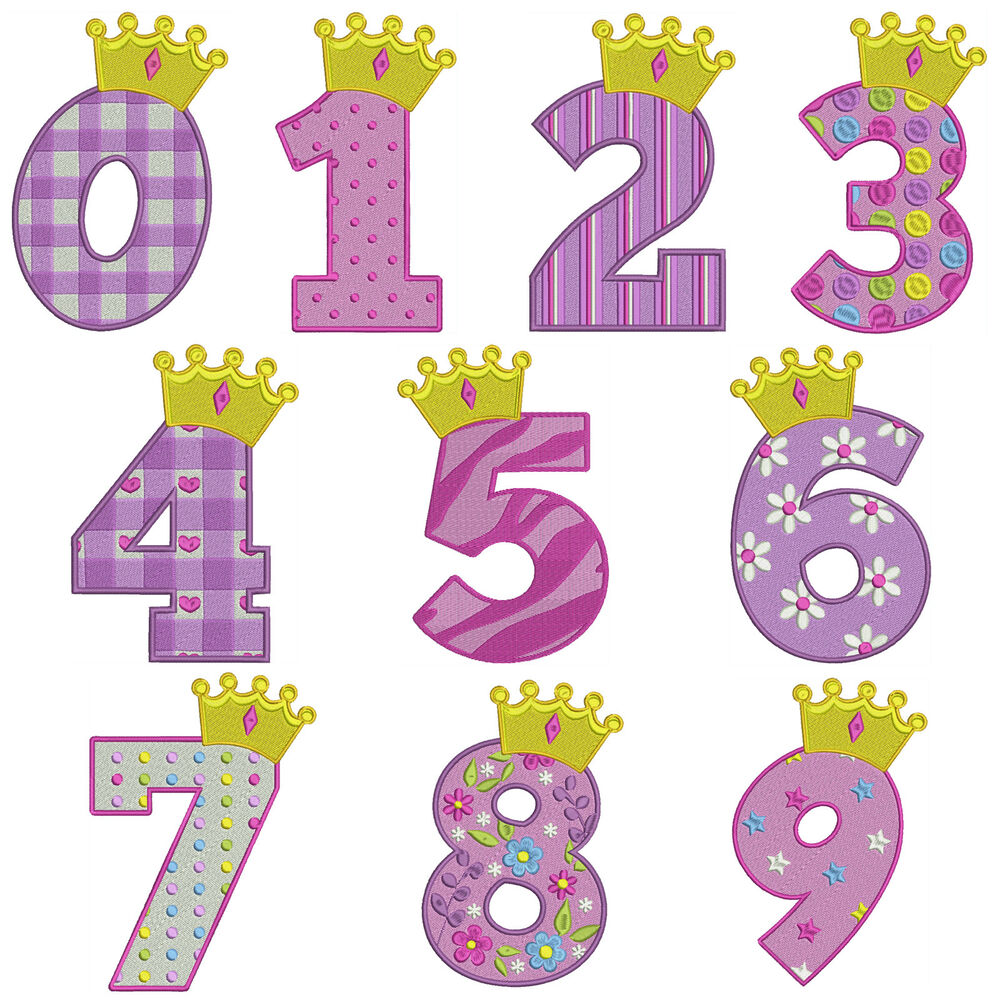 Princess numbers machine embroidery patterns