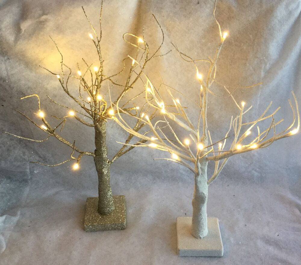 Champagne Gold Glitter White 50cm Light Up Twig Tree