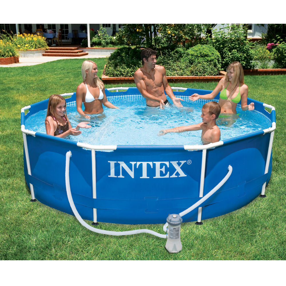 Intex Metal Frame Round Swimming Pool 10ft X30 Filter Pump Above Ground 28202 Ebay