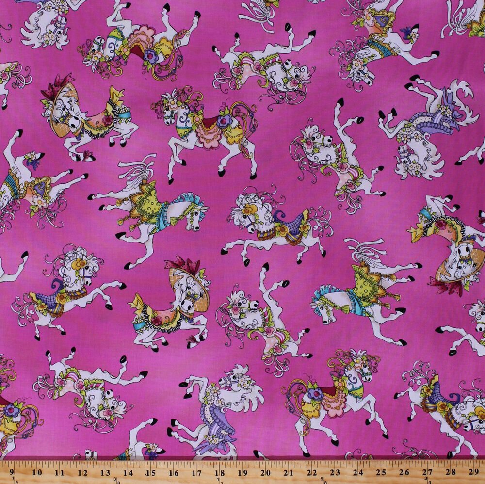 Cotton carousel horses ponies pony horse animals kids pink for Horse fabric for kids