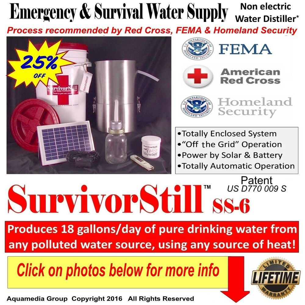 Non Distiller Electric Water ~ Solar survivorstill non electric water distiller