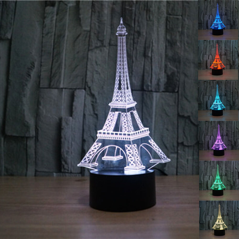 3d illusion eiffel tower bedroom night color change led