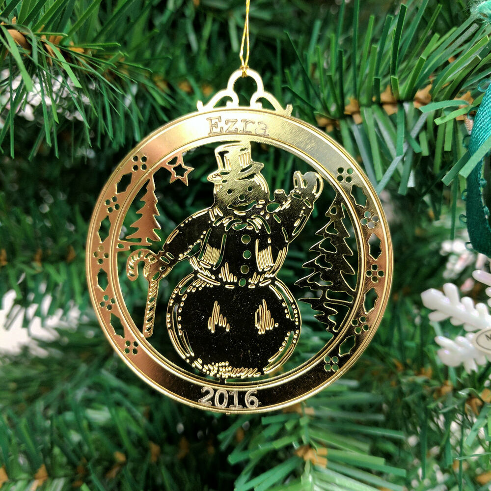 Personalized snowman high polished brass christmas