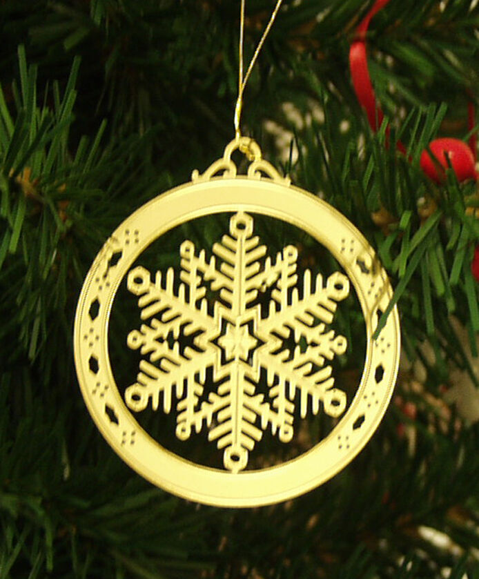 Personalized Snowflake High Polished Brass Christmas ...
