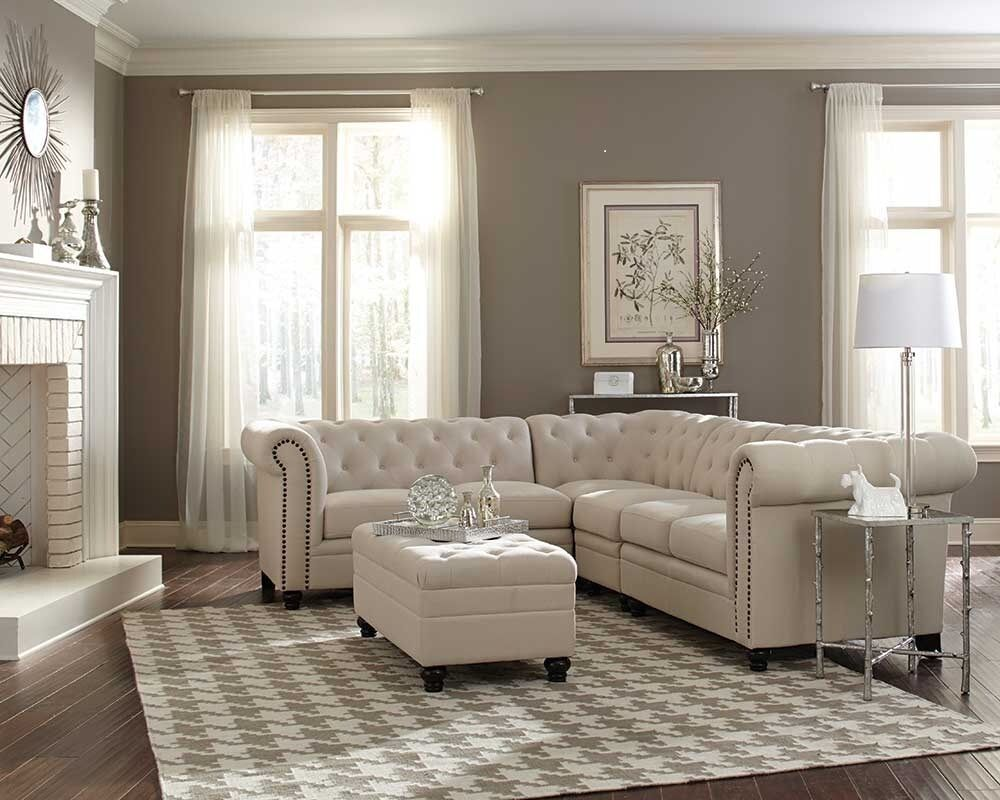 Traditional button tufted oatmeal linen blend fabric sofa for Traditional sectional