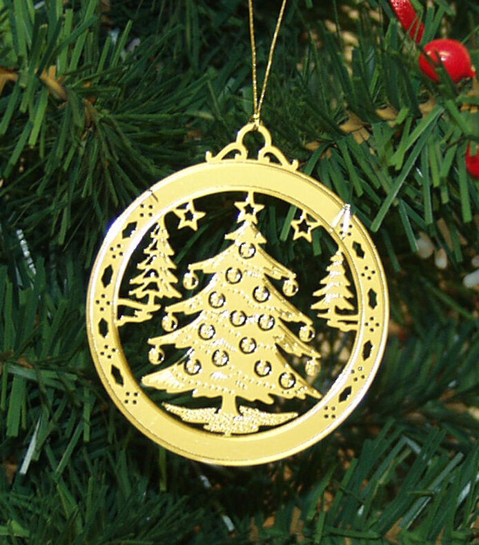 Personalized christmas tree high polished brass christmas for Custom christmas tree ornaments