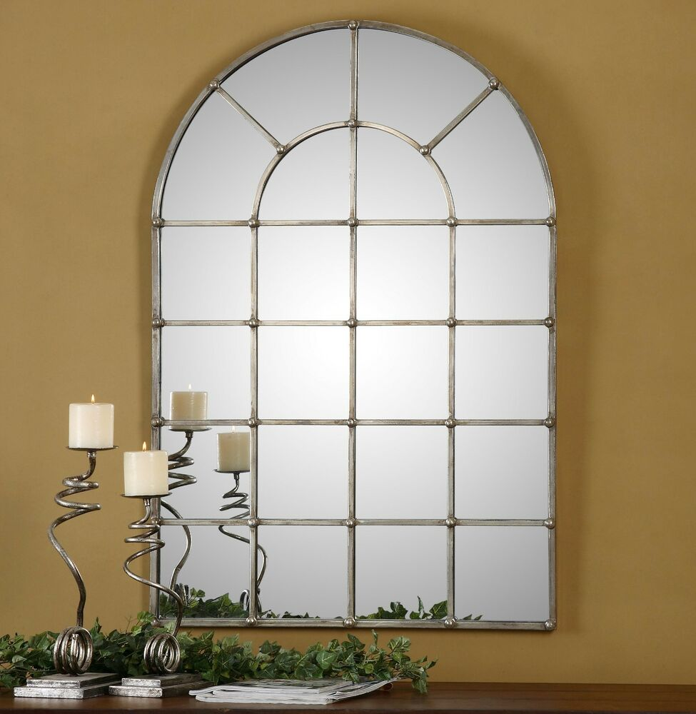 "LARGE 44"" HAND FORGED METAL ARCHED WINDOW STYLE WALL"