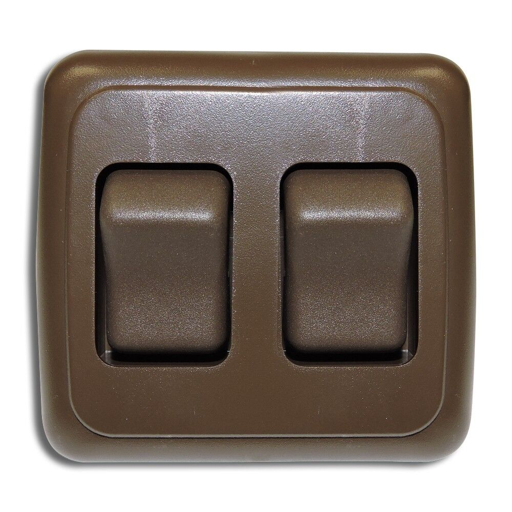 Double 2 Gang On-Off 12 volt Brown Light Switch - RV