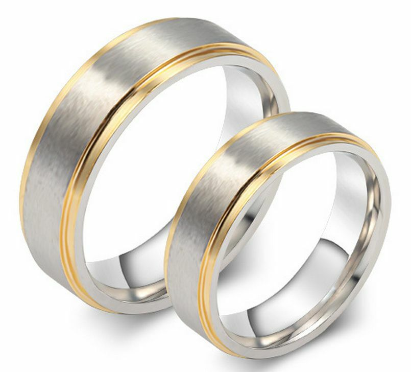titanium stainless steel two tone promise ring