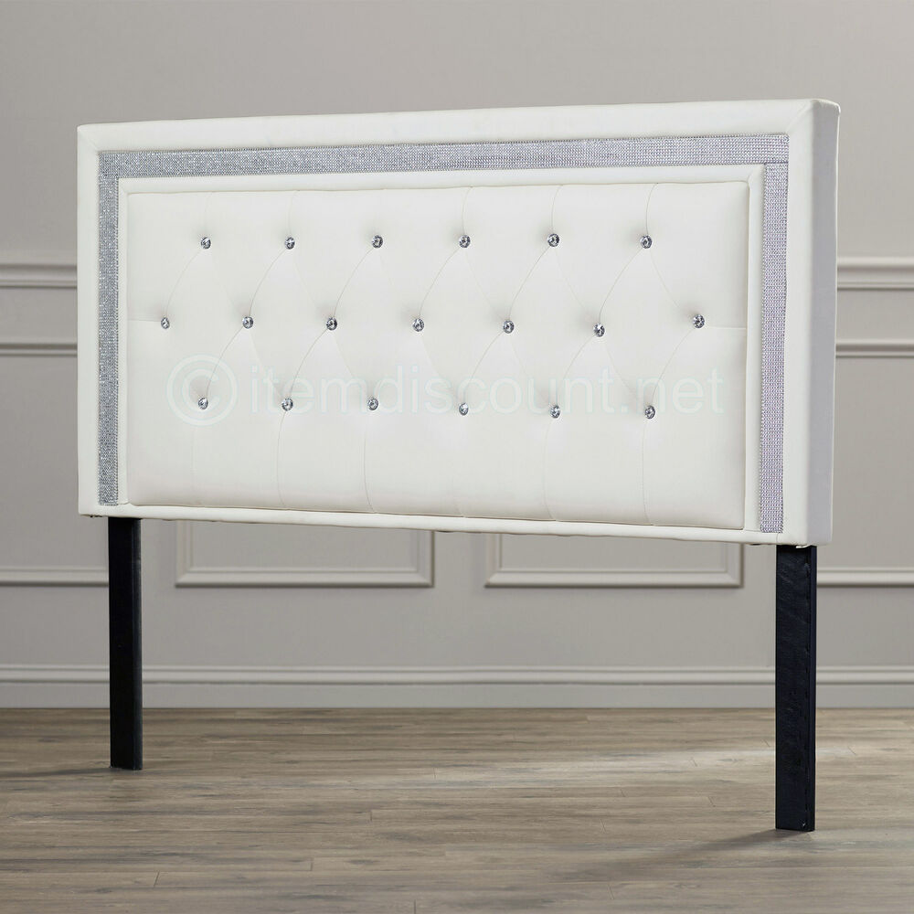 White leather button tufted rhinestone crystal bed for Full headboard