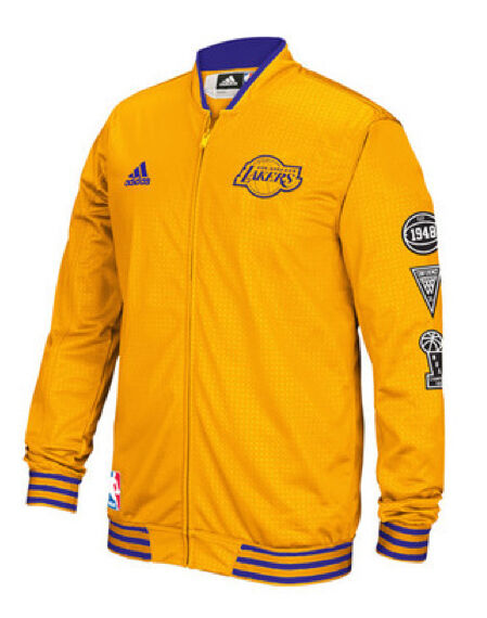 f42d6405411 Los Angeles Lakers adidas Men's Official 2015/2016 On-Court Warm-Up Jacket  -Gold | eBay