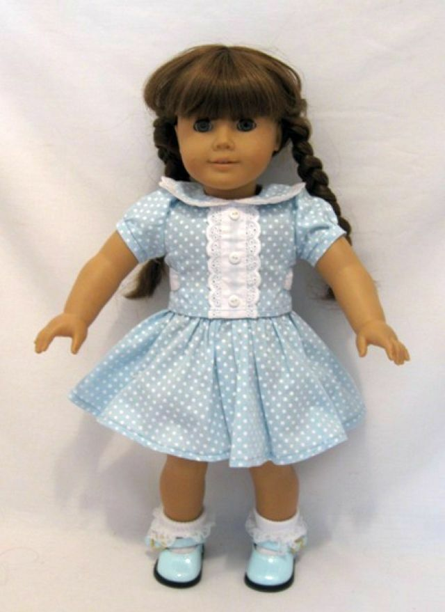 doll clothes ag 18 molly skirt blouse blue white made for american girl dolls ebay. Black Bedroom Furniture Sets. Home Design Ideas