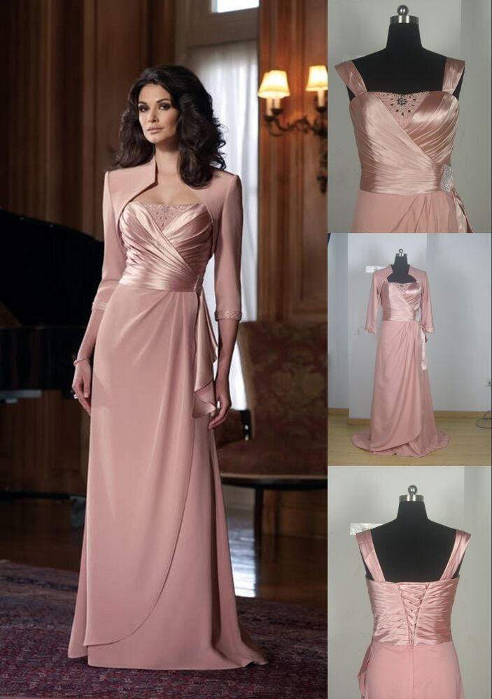 Free jacket pink mother of the bride dress women formal for Cocktail dress with jacket for wedding