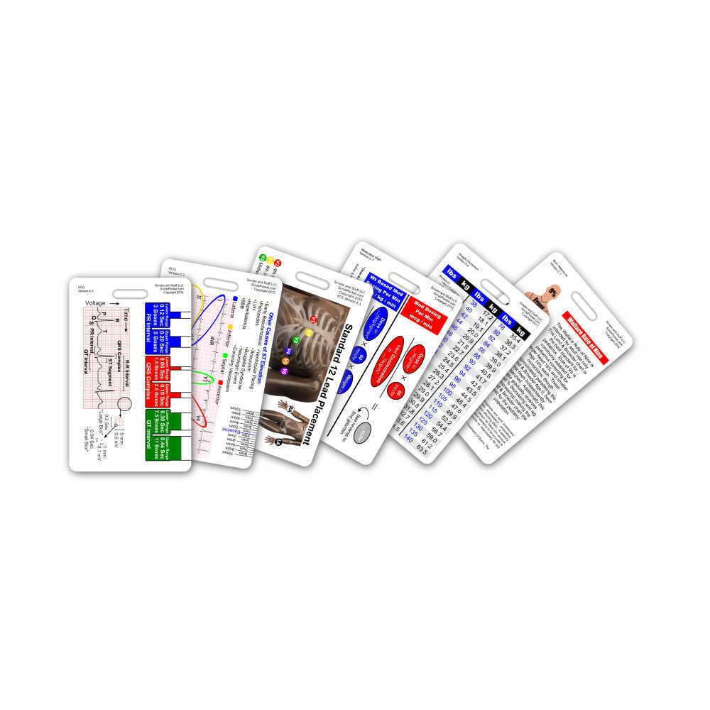 Mini Paramedic Vertical Badge Card Set 6 Cards Pocket Reference Cheat ...