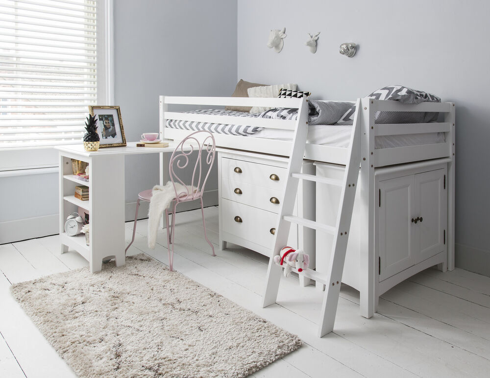 Cabin Bed Midsleeper Sleepstation with Chest of Drawers ...