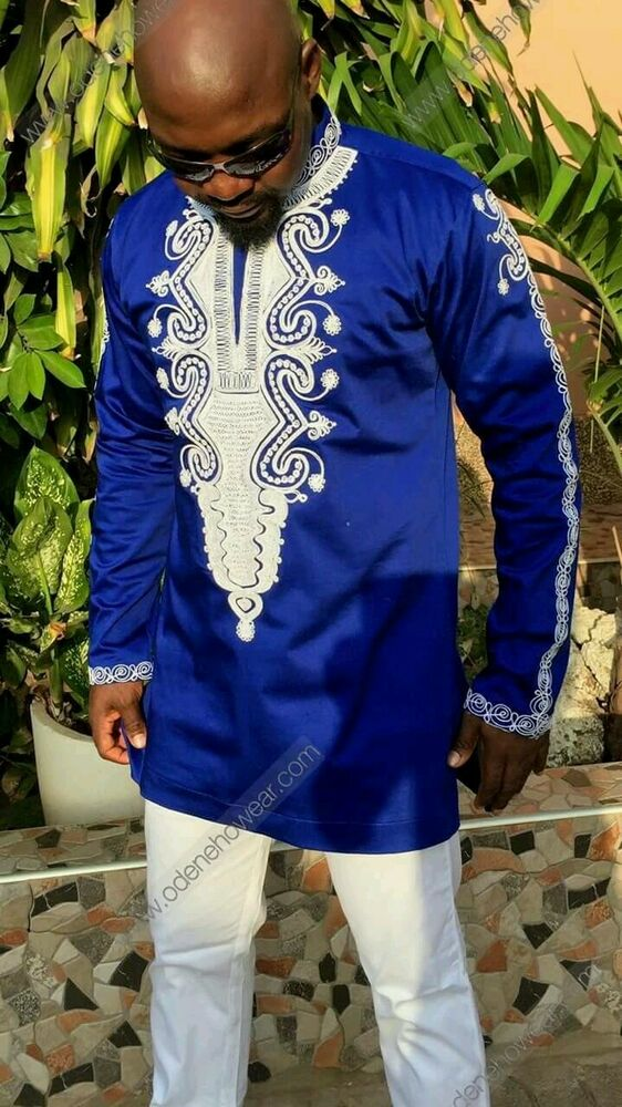 Odeneho Wear Menu0026#39;s Blue Polished Cotton Top/White Embroidery. African Clothing | EBay