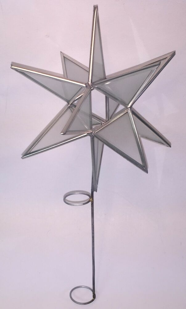 Moravian Star Frosted Glass Christmas Tree Topper 7 Quot Ebay