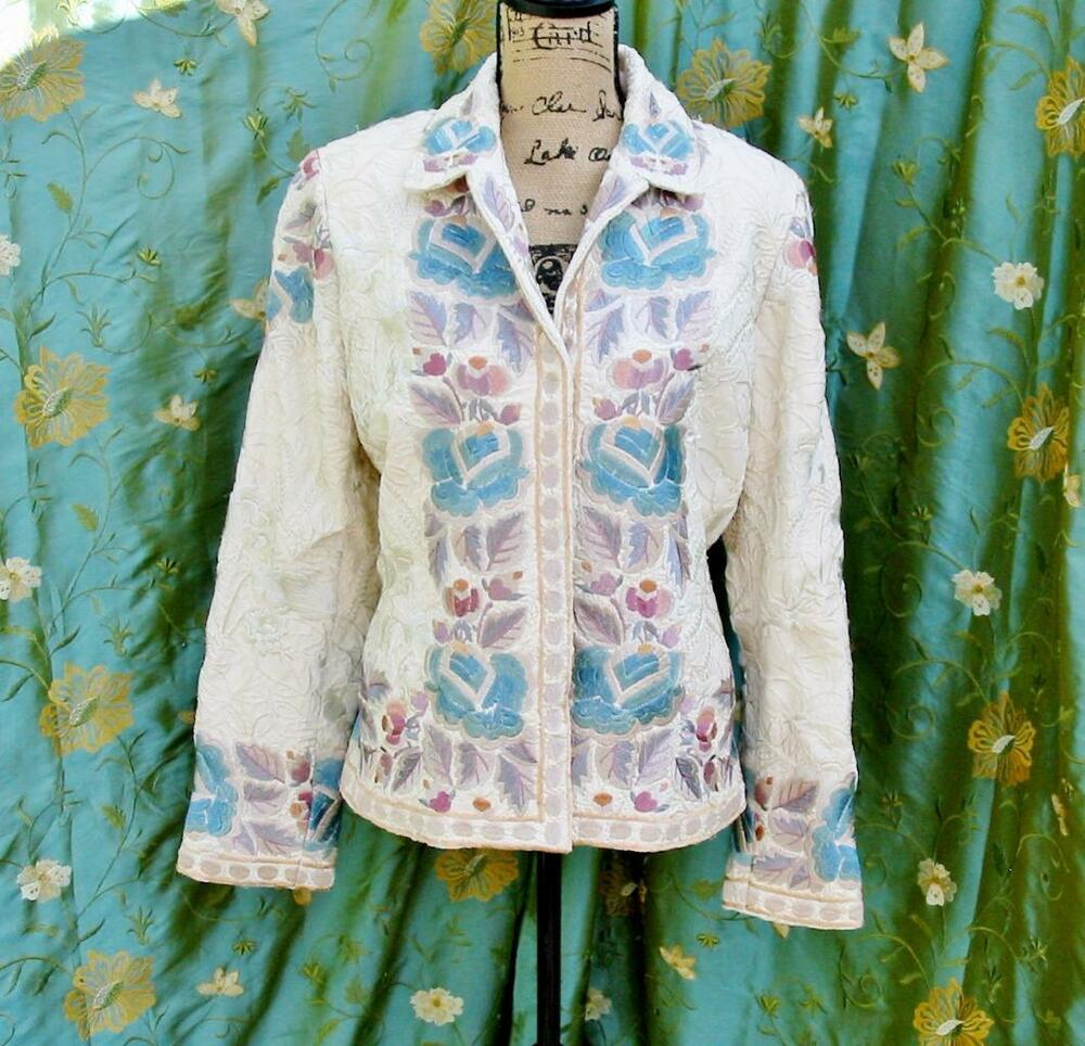 Stunning Biya Silk Coat Jacket Embroidered Embroidery L | EBay