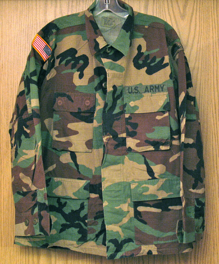 US Army Olive Green Woodland Camo Combat Fatigue Uniform ...