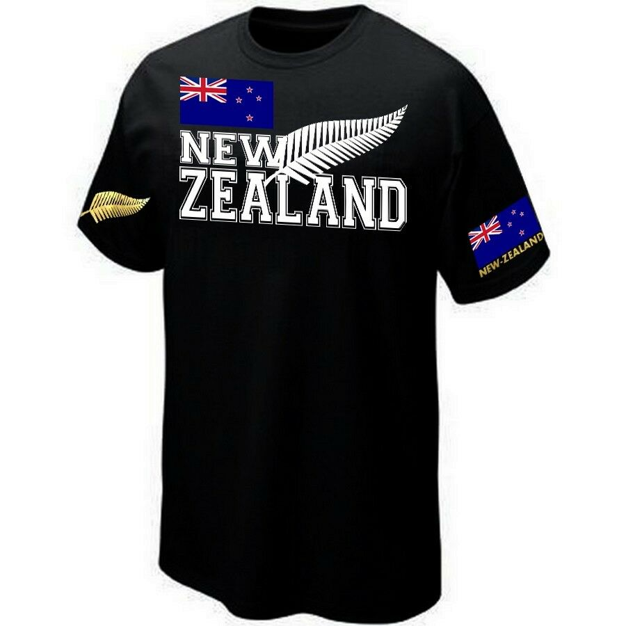 new zealand t shirt rugby supporter all blacks silkscreen ebay. Black Bedroom Furniture Sets. Home Design Ideas