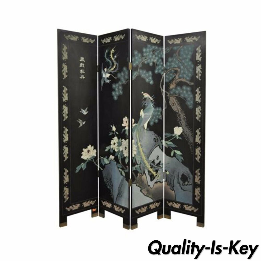 Vintage oriental asian chinese carved painted bird for Painted screens room dividers
