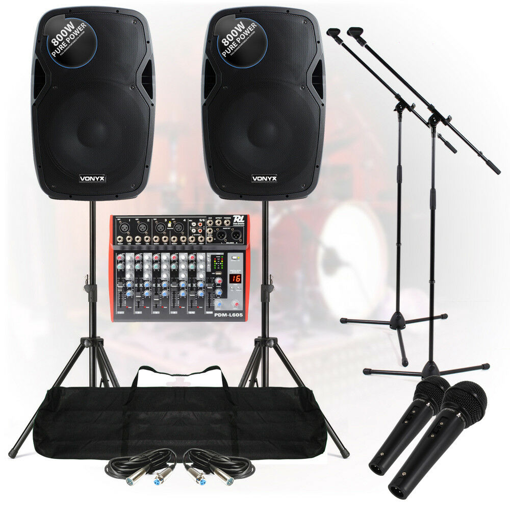 band pa system 1600w 6 ch usb mixer active speakers mic dj live music set stands ebay. Black Bedroom Furniture Sets. Home Design Ideas