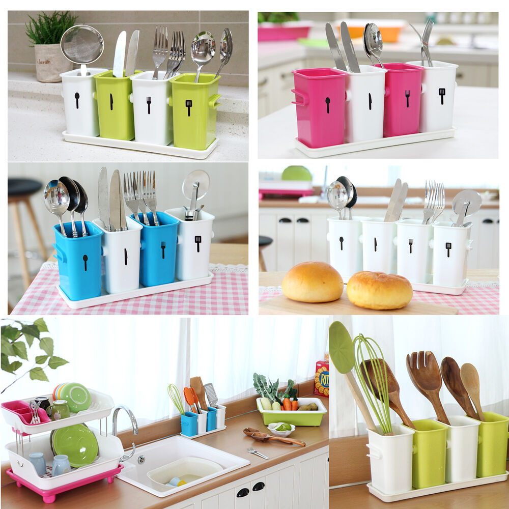 Korea sense mom 4 utensils holder kitchen bath tools for Bathroom utensils