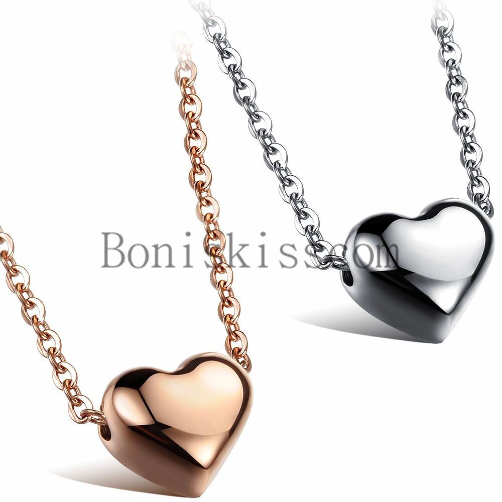stainless steel polished heart charm pendant necklace 18. Black Bedroom Furniture Sets. Home Design Ideas