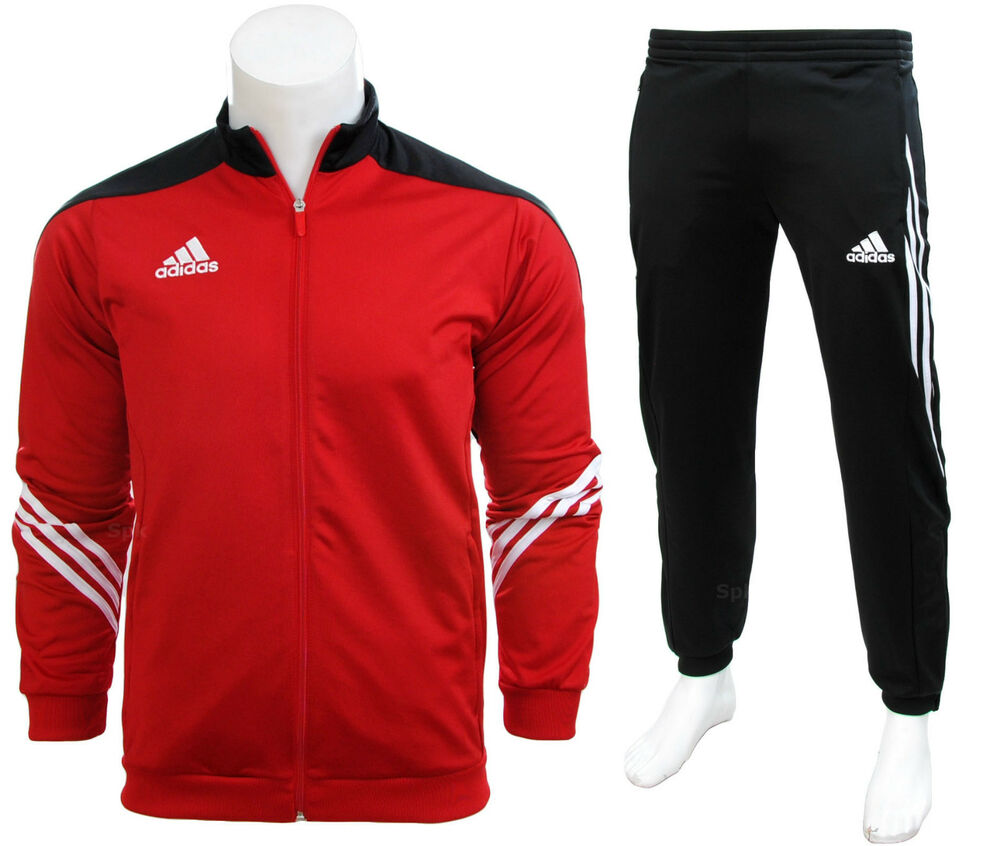 Adidas Full Mens Tracksuit Zip Jogging Top Bottoms 3 Stripe Red Size S - XXL | eBay