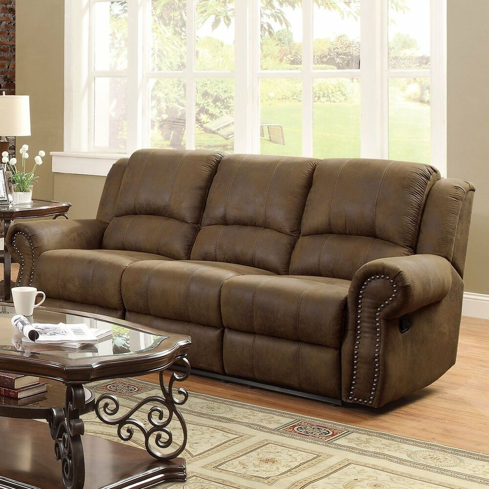 Traditional brown microfiber nailhead accent sofa living for Upholstery living room furniture