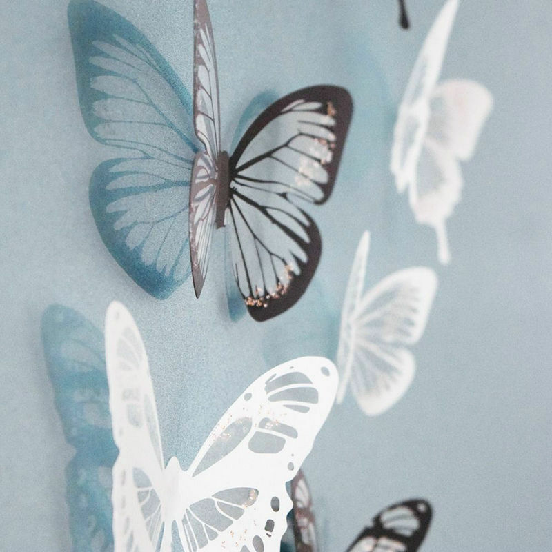 White Butterfly Wall Decor Target : Pcs d black white butterfly crystal decor wall stickers